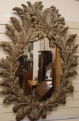 An acanthus carved giltwood mirror H.140cm