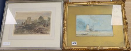 Attributed to David Cox, pencil and wash, Coastal scene with a beached vessel beside a lighthouse,