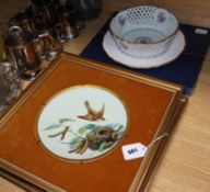 A pair of Minton Aesthetic Movement cabinet plates, painted with birds and nests (mounted and