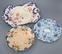 A Cantagalli majolica plate and two other plates