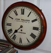 John Walker, London - a mahogany wall clock, circa 1860 diameter 36cm