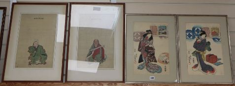 Two pairs of Japanese figurative prints, 38 x 24cm