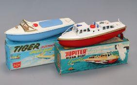 A Sutcliffe Tiger speedboat model and a Jupiter pilot cruiser model, boxed