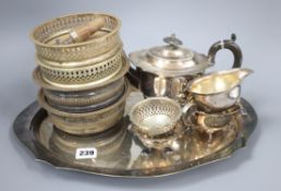 A group of mixed silver plated wares