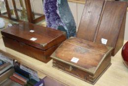 A Victorian oak stationery box, a brass bound hardwood box and a Victorian brass bound walnut
