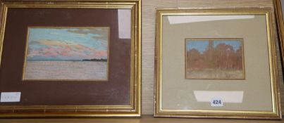 Alexandre Dubourg (1821-1891), two pastels, Seascape at dusk, signed verso, 15 x 22.5cm and Forest