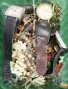 Mixed costume jewellery and assorted wrist watches.