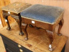 An oak dresssing stool with pad feet and another with claw and ball feet larger W.19cm