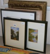 A Victorian gilt picture frame (now with mirror plate) and four pictures, various, including a