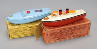 Two Sutcliffe models, a Comet speedboat and a clockwork boat, boxed