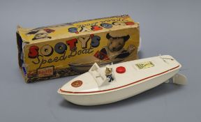 A Sutcliffe Sootys speed boat model, boxed
