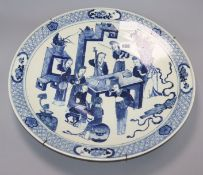 A 19th century Chinese blue and white figurine charger diameter 46cm