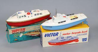 Two Sutcliffe models, Victor motor torpedo boat and Jupiter pilot cruiser, boxed
