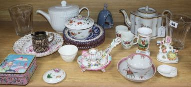 A collection of mixed 18th and 19th century European ceramics, glass, enamel ware etc.