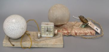 Two Art Deco table lamps, one with incorporated timepiece
