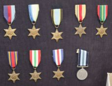 A display of nine World War II unnamed medals