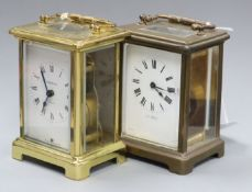 A gilt brass carriage clock, H A Briggs, Blackheath in leather-covered travelling case and a