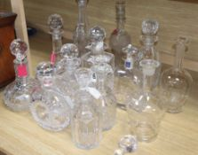 A collection of thirteen glass decanters