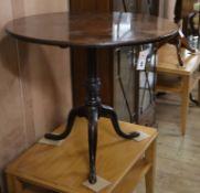 A George III mahogany tea table, Diam.75cm and a Victorian mahogany wine table