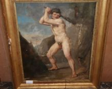 19th century, oil on canvas, Nude of a man