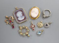 A cameo brooch, a 15ct turquoise and seed pearl pendant, six other pendants and a textured 18ct