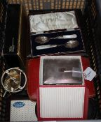 A quantity of silver-mounted and plated flatware (some cased), a plated cigarette box and sundry