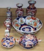 A group of Japanese Imari vases and vessels tallest 24cm