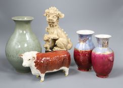 A Beswick bull, a pair of vases, a Chinese vase and a dog of fo
