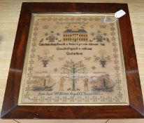 A Victorian needlework sampler by Ann Jane Williams, Aged 12, 1851, in rosewood frame 43 x 41cm