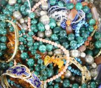 Mixed costume jewellery including malachite necklaces etc.