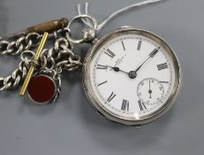 A Waltham 'The Farringdon' keywind silver pocket watch, with silver albert and chalcedony set