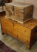 A Victorian pine blanket box together with a smaller trunk Pine trunk W.108cm