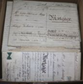 A collection of 17th and 18th century indentures and newspapers