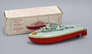 A Sutcliffe Fury clockwork torpedo boat, boxed