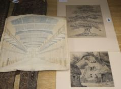 After Morland, pencil sketch of a cottage, After Constable, pencil sketch of an oak tree and a