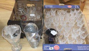 A quantity of mixed cut glass