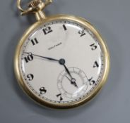 A Waltham 14k keyless dress pocket watch, with Arabic dial and subsidiary seconds.