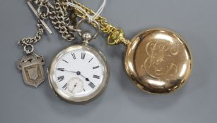 A Waltham gold plated pocket watch and a white metal pocket watch with silver albert.