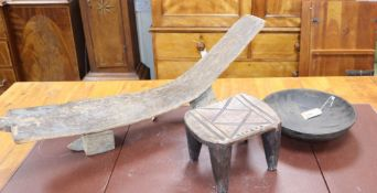 An African carved bowl, stool and stand