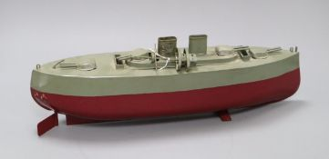 A Sutcliffe model of a warship, boxed