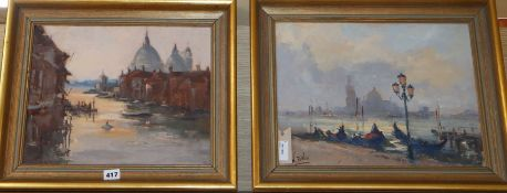 William Davies (b. 1928), two Venetian canal scenes, signed, one with Park Walk Galleries label