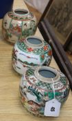 Three 19th / 20th century Chinese famille verte jars, all lacking covers