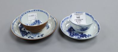 Two Chinese Nanking Cargo blue and white tea bowls and saucers.
