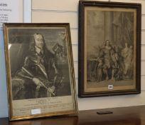 An 18th century engraving of Charles I and a 19th century example, 52 x 38cm