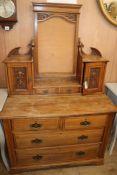 A late Victorian walnut dressing chest W.107cm