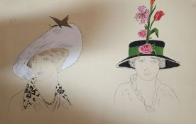 Two sketch books of costume designs dated 1913 and London lithographs