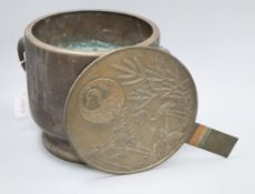 A Japanese bronze mirror and a jardiniere height 23cm