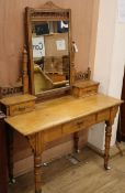 A late Victorian aesthetic movement ash dressing table W.96cm