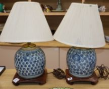 Two Chinese blue and white ginger jars, converted for use as table lamps