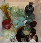 A group of Continental coloured glass ware and various drinking glasses